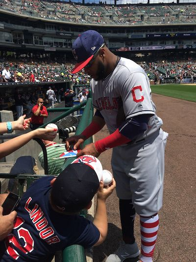 Cleveland Indians 1B Carlos Santana Signing Autographs In Detroit