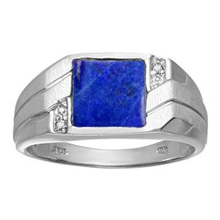 Men's Square Lapis Lazuli Diamond Ring In Sterling Silver Gemologica.com offers a unique selection of mens gemstone and birthstone rings crafted in sterling silver and 10K, 14K and 18K yellow, white and rose gold. We have cool styles including wedding and engagement rings, fashion rings, designer rings, simple stone and promise rings. Our complete jewelry collection of gemstone rings for men can be seen here: www.gemologica.com/mens-gemstone-rings-c-28_46_64.html