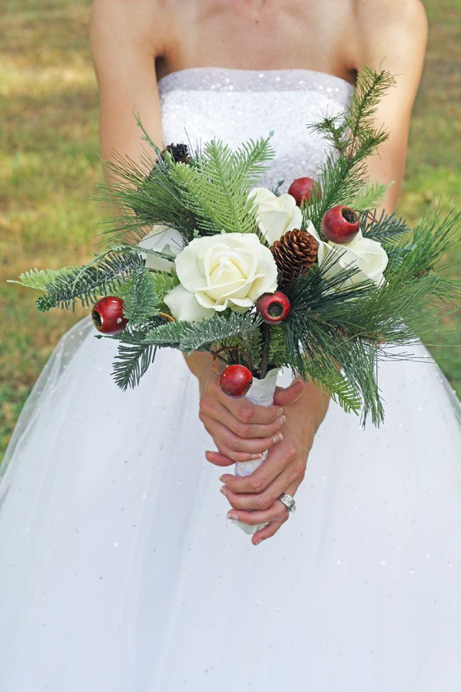 Winter Wedding Bouquet - Pine cones and Roses Winter Wonderland.   DIY