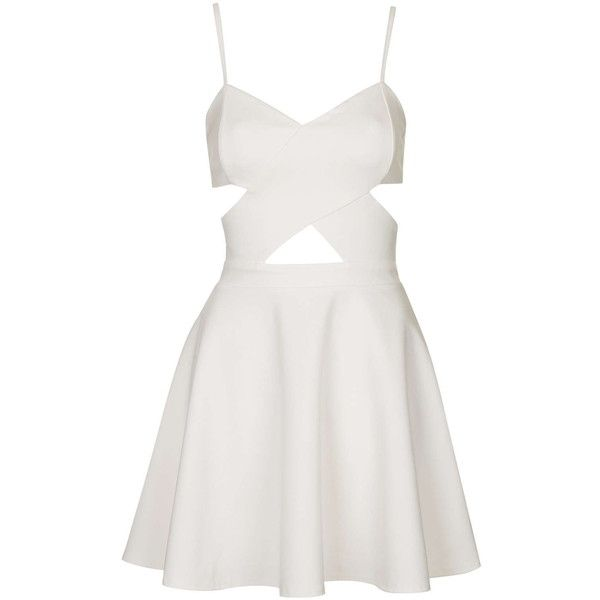 TOPSHOP **Cut-Out Skater Dress by WYLDR ($64) ❤ liked on Polyvore featuring dresses, vestidos, short dresses, robes, ivory, white cocktail dresses, short white cocktail dress, white cut out dress and short white dresses