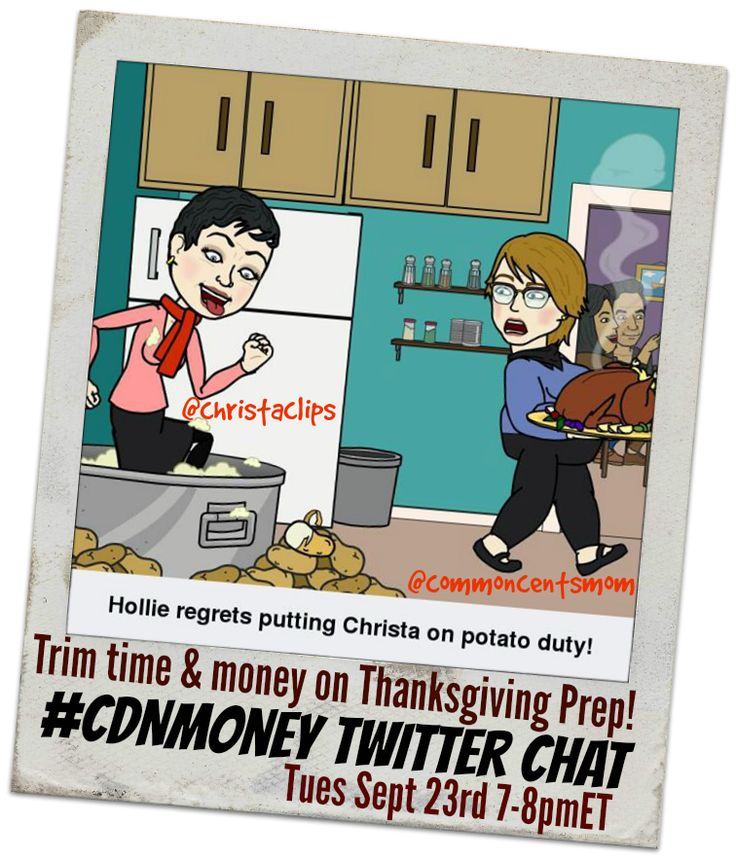 Join @christaclips and @commoncentsmom for our Thanksgiving Trimming #CDNmoney chat on Tues Sept 23, 2014 7-8pmET. We're talking about how to trim time & money from your Thanksgiving prep!