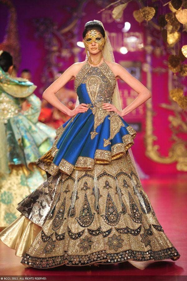 Gold and blue lengha by Ritu Beri at Delhi Couture Week 2013.