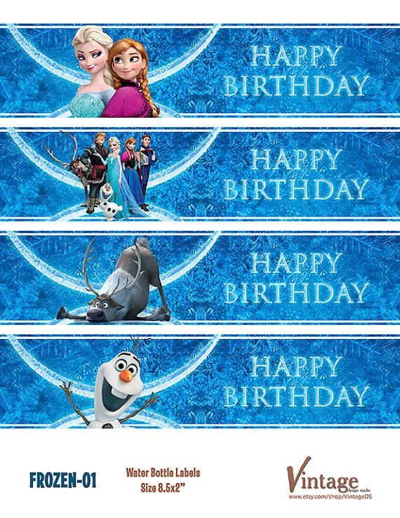 Free Printable Disney Frozen Birthday Party Water Bottle Wrappers  by VintageDS