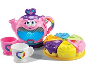 Leap Frog Rainbow Tea Party! The loveable light-up tea pot bubbles with personality while perking up 'tea' and teaches kids about colours, opposite words, matching, manners and counting, too!