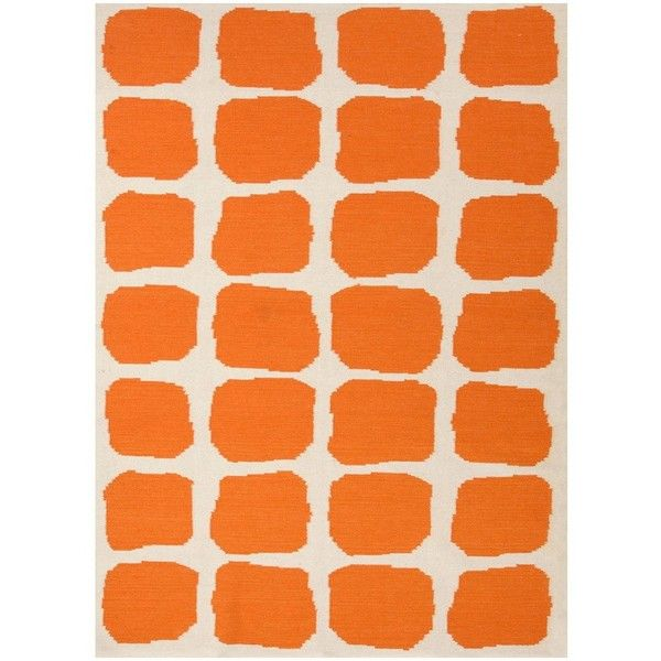Jaipur Maroc Sabra White/Orange Flat Weave Rug ($58) ❤ liked on Polyvore featuring home, rugs, backgrounds, decor, orange, flatweave wool rug, flatweave rug, wool rugs, orange rug and orange area rug