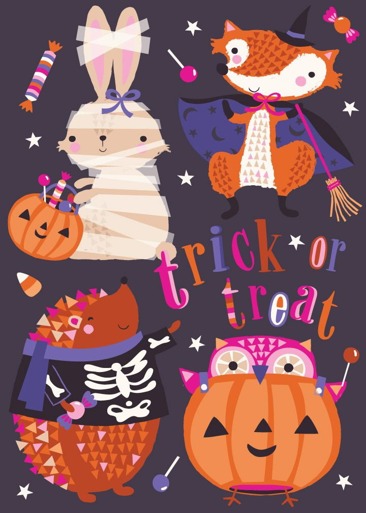 halloween, trick or treat, rabbit, fox, hedgehog, owl, design illustration print…
