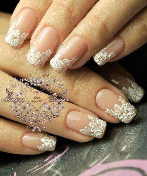 37 nouvelles idées ongles de mariage pour dentelle acrylique mariée   – Mawwage
