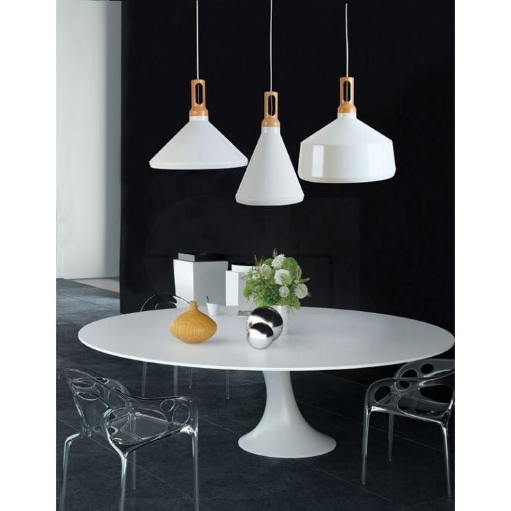 Φωτιστικό κρεμαστό πολύφωτο (τρίφωτο) σε διάταξη ράγας, σε μοντέρνο στυλ, κατασκευασμένο από αλουμίνιο σε καμπάνα και ξύλινη λεπτομέρεια. 1514 3L από την Zambelis Lights. -------------------------------------- Pendant light in a modern style, made of aluminum in bell and wooden detail. #zampelislights #papantoniougr #modern #modernstyle #interiordesign #interiordesignideas #interiorstyling #interiordecorating #housegoals #housetrends #diningroom #kitchen