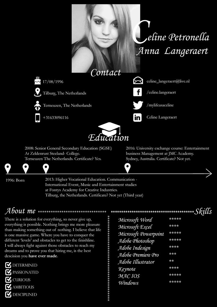 The Second page of my creative Curriculum Vitae. Made in Photoshop.