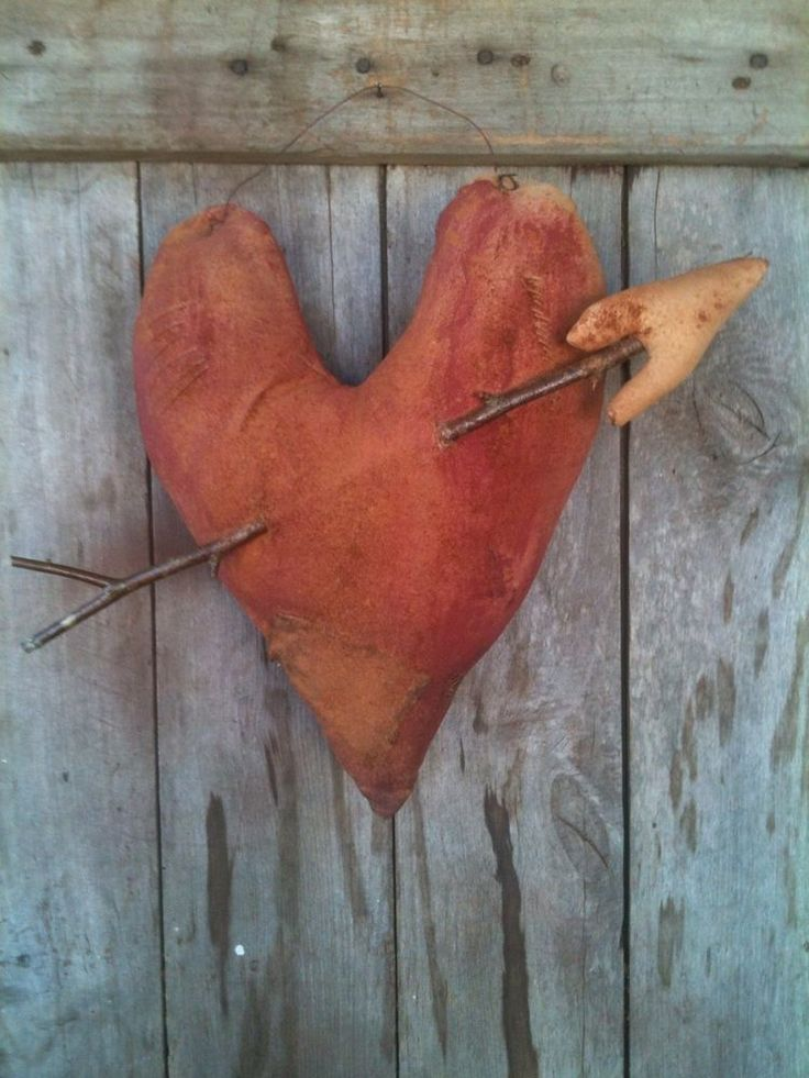 Primitive Valentine Feed Sack grungy Heart Cupids Arrow Door Charmer greeter #NaivePrimitive