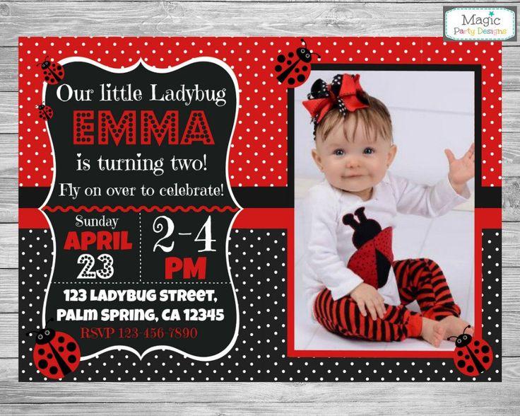 Ladybug invitation, Ladybug birthday invitation, Ladybug invite, 1st ladybug invitation, ladybird invitation, ladybug photo invitation by MagicPartyDesigns on Etsy https://www.etsy.com/listing/261539142/ladybug-invitation-ladybug-birthday