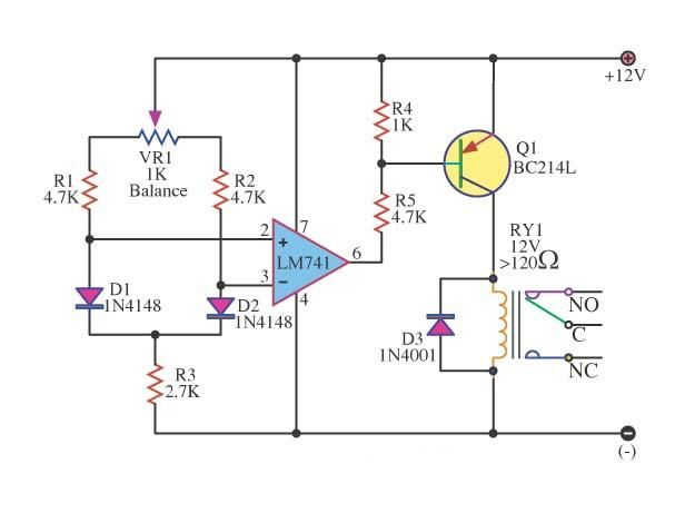 dfferential temperature relay switch circuit
