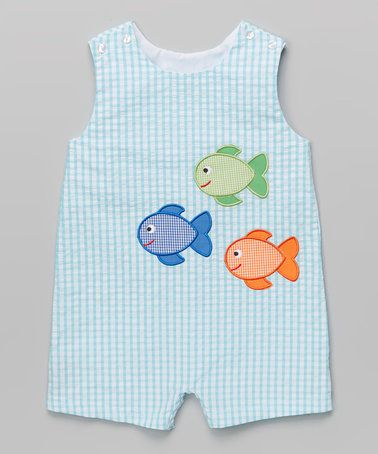 Take a look at this Turquoise Gingham Fish Shortalls - Infant