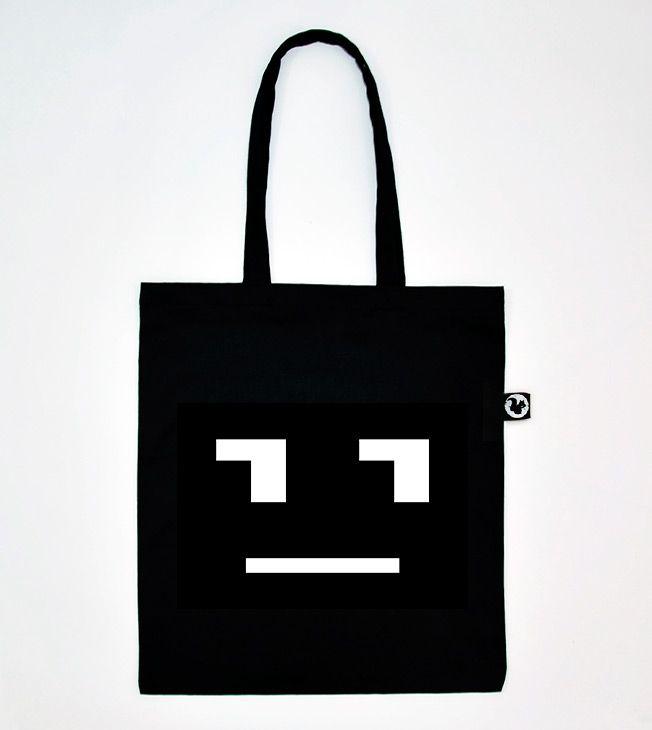 Robot face Tote Bag. Black on White.  #totebags #screen #printed #handmade #serigrafia #diseño #robot #face #faccia #borsa #nera #black #shopping #shopper #goodie #bag