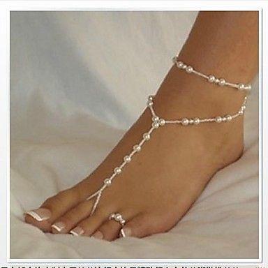 Elegant White Pearl Barefoot Sandal