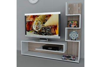 Meuble TV Metehan - Blanc et imitation bois clair