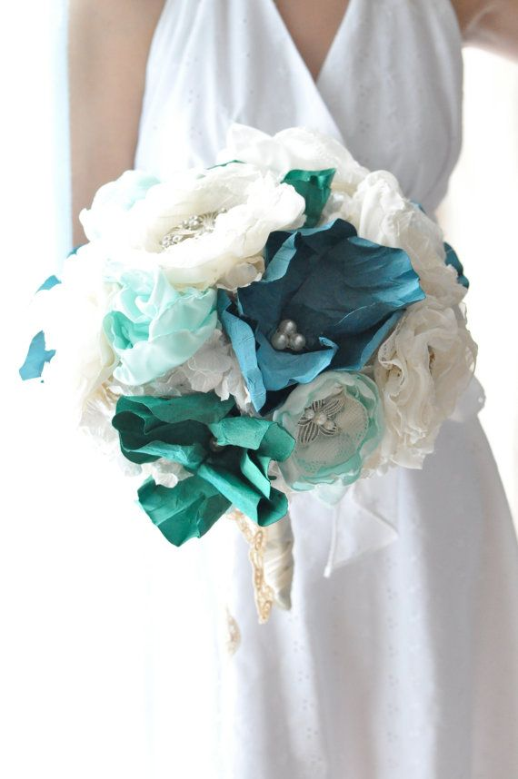 Stunning Aqua teal wedding flowers with by AlternativeBlooms, $345.00