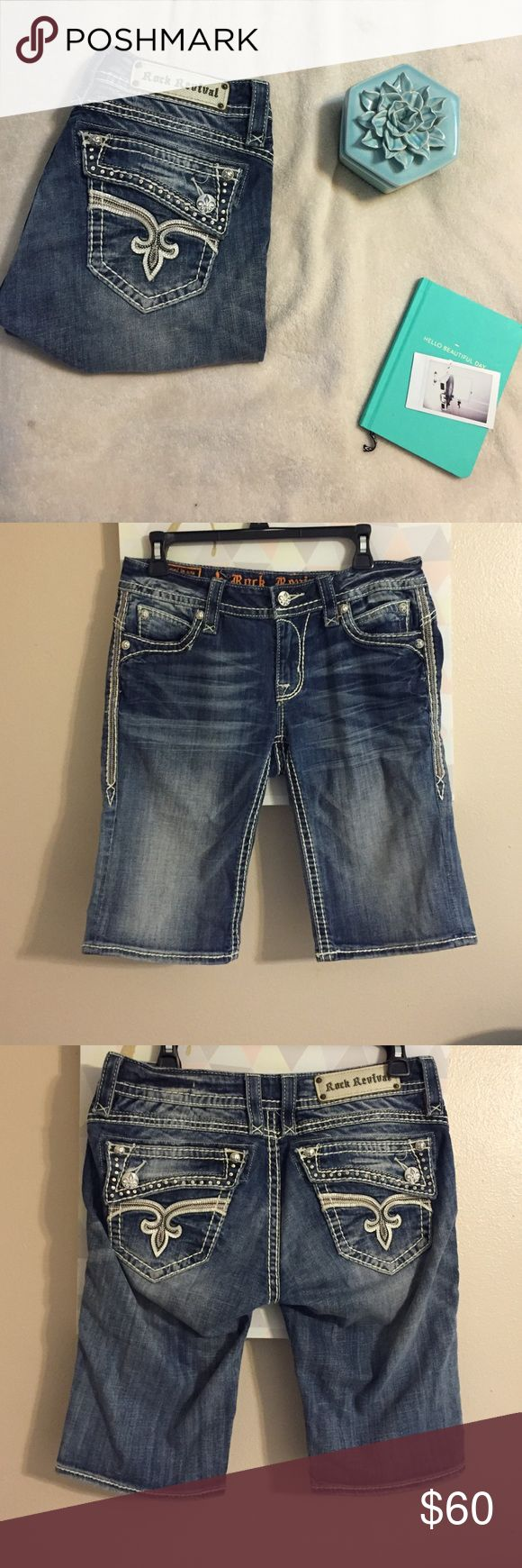Rock revival Bermuda shorts New without tags! Great condition! No flaws. Looking to sell these. Firm on price. Rock Revival Shorts Bermudas
