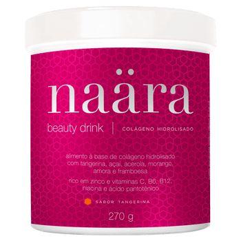 Naära – Beauty drink à base de colágeno hidrolisado, l-cisteína, rico em zinco, vitaminas C, B6, B12, niacina e ácido pantotênico. Com 6 frutas desidratadas: tangerina, açaí, acerola, morango, amora e framboesa. Sabor tangerina. Sem glúten.  Ingredientes  Colágeno hidrolisado Rico em zinco Vitaminas C, B6, B12, niacina e ácido pantotênico L-cisteína 6 Frutas Desidratadas: Tangerina, Açaí, Acerola, Morango, Amora e Framboesa Sem Glúten