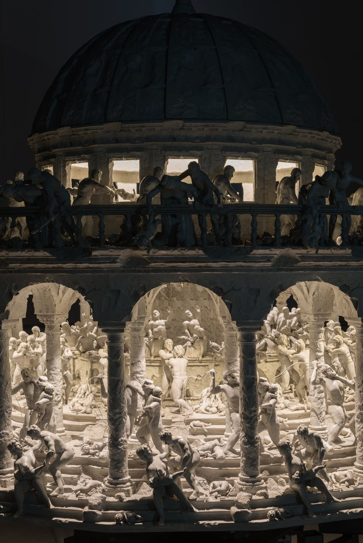 Close up installation shot of «All Things Fall» by Mat Collishaw.  The work brings life to the biblical story of the extermination of babies in Bethlehem and is a reference to the painting The Massacre of the Innocents by Ippolito Scarsella. The #zoetrope includes 300 separate figures and it is programmed to rotate at 60 revolutions per minute with LED lamps synchronized to flash 18 times per second.  On view at #garytatintsiangallery. Feb 2 - Apr 28, 2018.