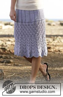 """Spring Break - Knitted DROPS skirt with lace pattern in """"Muskat"""" or """"Belle"""". Size S-XXXL. - Free pattern by DROPS Design"""