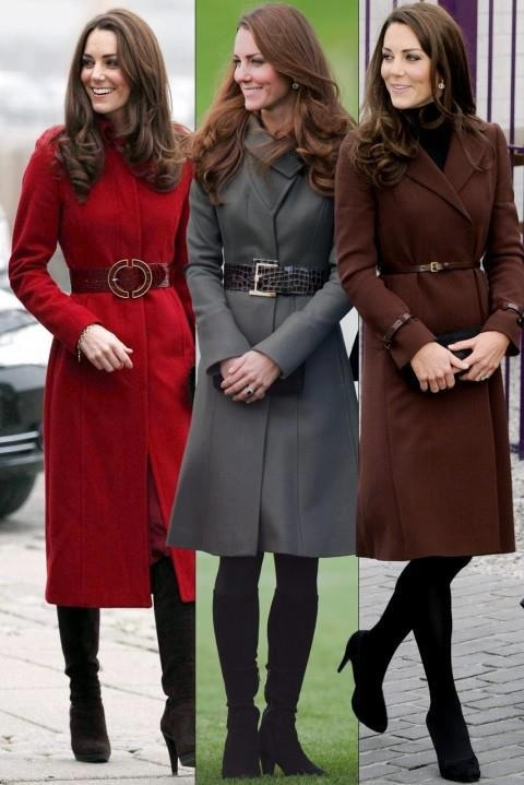 Kate has fabulous coats. Red LK Bennett, Military grey Reiss, and chocolate Hobbs coat. All belted.