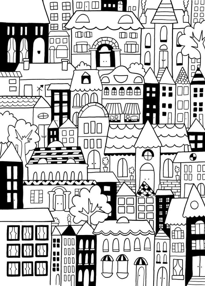 building coloring pages for adults - photo#27