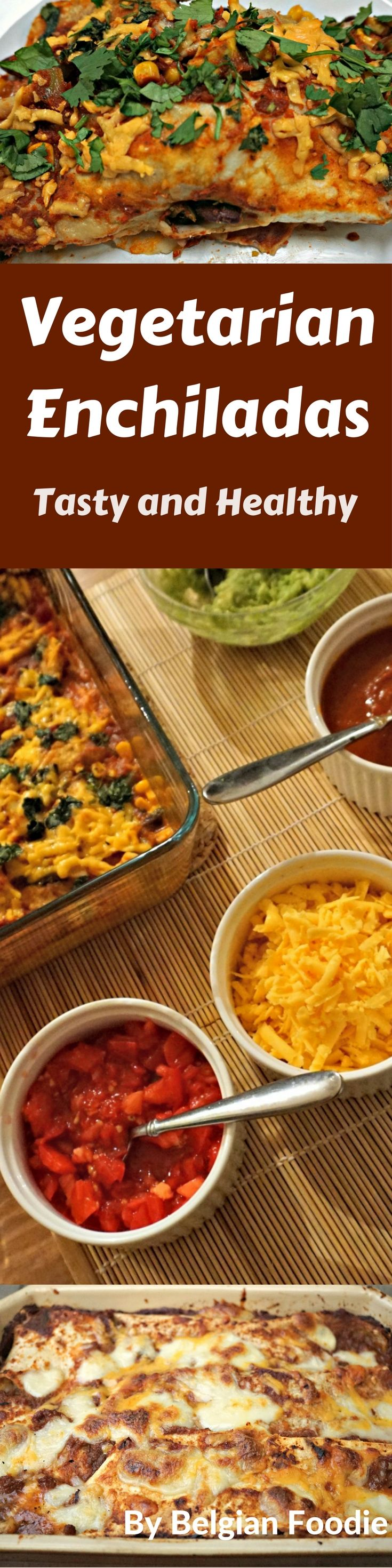 Tasty Healthy Vegetarian Enchiladas with full flavor from a homemade Red Enchilada Sauce