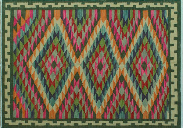 Rucker Geometric Handmade Kilim Wool Green Area Rug Rugs Woven Rug Ivory Rug