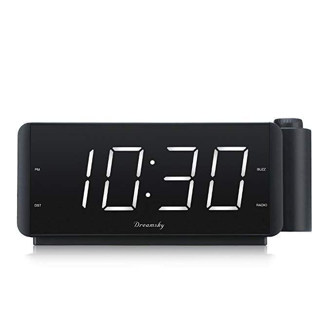 Dreamsky Projection Alarm Clock Radio With Usb Charging Port And Fm Radio 2 Large Led Display With Dimmer Adjustable Ala Alarm Clock Radio Alarm Clock Clock