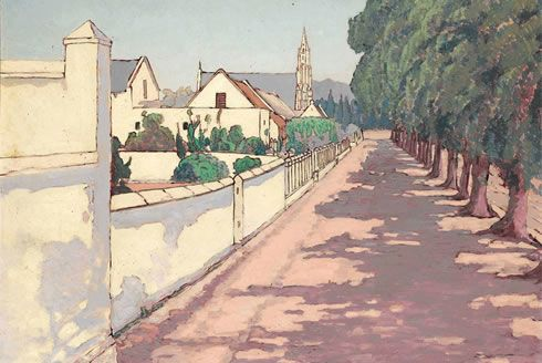 Jacob Hendrick PIERNEEF   Jacob Hendrik Pierneef, Scene of a sleepy town in the Cape. It is ...
