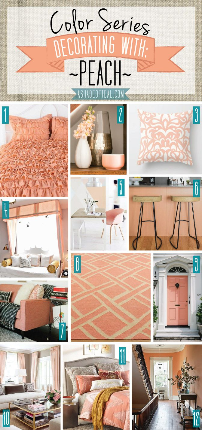 Color Series; Decorating with Peach. Peach, orange, salmon, coral home decor. | A Shade Of Teal