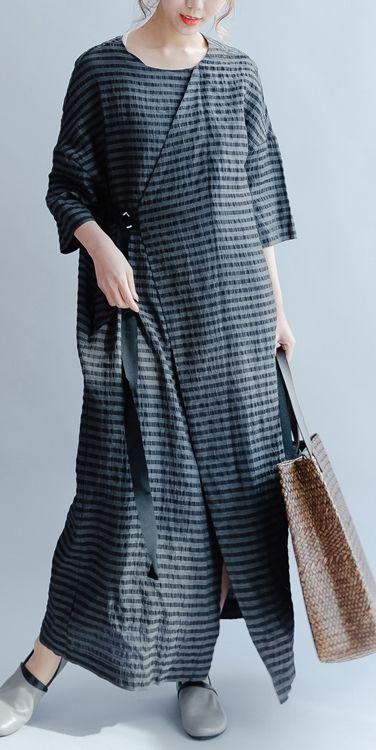 new black plus size sundress elegant casual linen summer dress short sleeve maxi dress side open