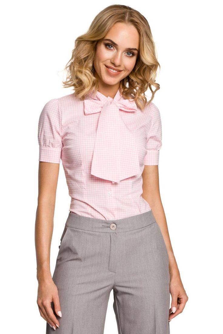 Koszula w Krateczkę z Kokardą Różowa MO088