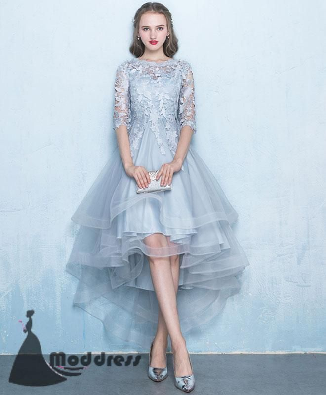 Cute High Low Homecoming Dress Applique Evening Dress Tulle Formal Dress,HS546 #fashion#promdress#eveningdress#promgowns#cocktaildress