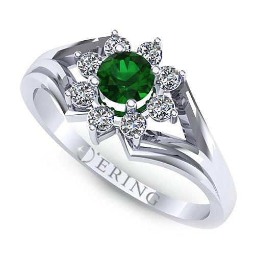 Inel logodna L18ASM inel cu diamante si smarald