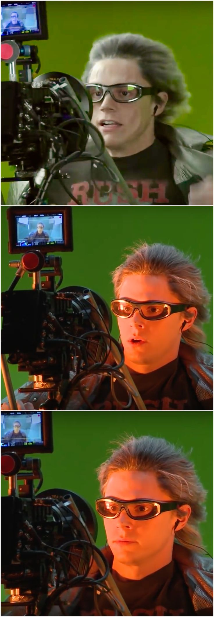 Behind The Scenes. Evan Peters while filming Quicksilver's now iconic Time In A Bottle Sequence in X-Men Apocalypse. Evan's running on a treadmill infront of the Green Screen, with a high velocity fan blowing on his face. Movie Magic!