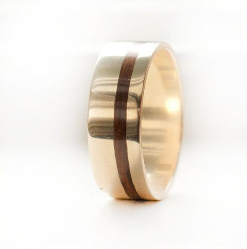 Gold wedding ring with a narrow offset wood inlay. Yellow gold men's wood wedding ring.