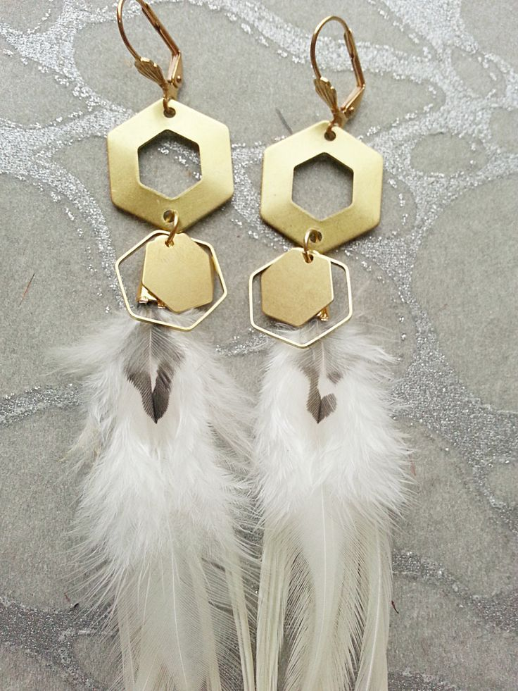 Brass Gold Hexagon WHITE Feather Earrings w Honeycomb Charms  - Cream Striped WIld Markings Solid Sacred Geometry Flicker Woodpecker accents by MEDICINAdesigns on Etsy