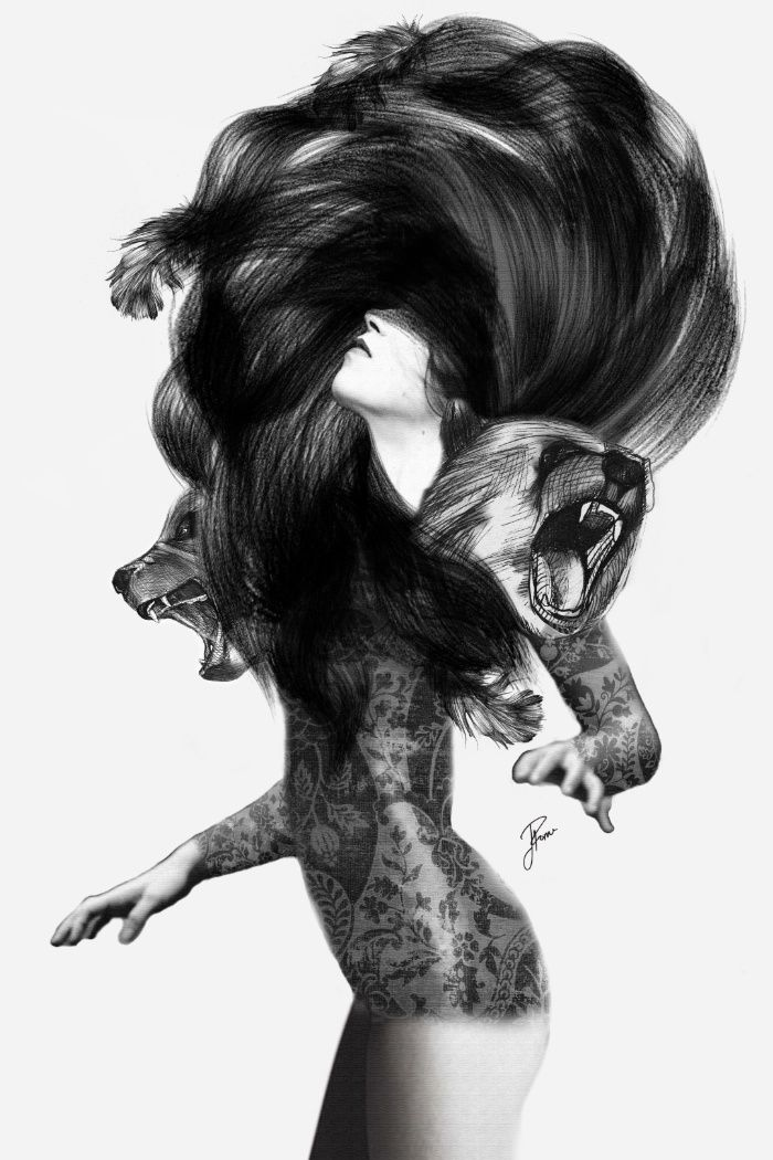 Black and white drawing in the Sunday's Society6 - Girl transforms to bear #art #blackwhite #drawing #society6