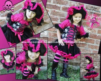 Homemade Pirate Princess Costume: Jozlyn is 3 years old.  She loves pirates, princesses, pink, and black; so I decided to design and make her a Pirate Princess costume.  She loves it and
