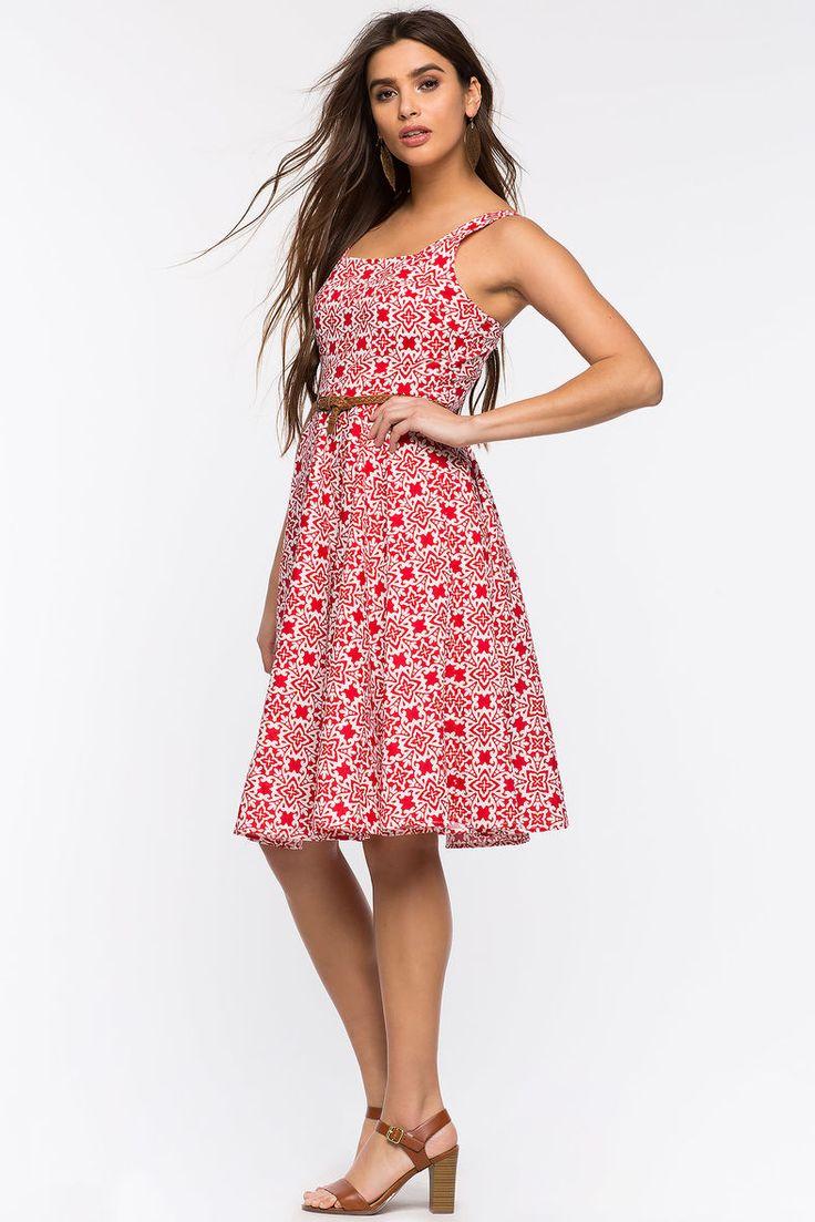 Платье Размеры: S, M, L Цвет: красный с принтом Цена: 2373 руб.     #одежда #женщинам #платья #коопт