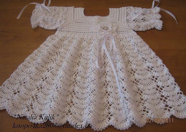 Вязанное крестильное платье схема вязания