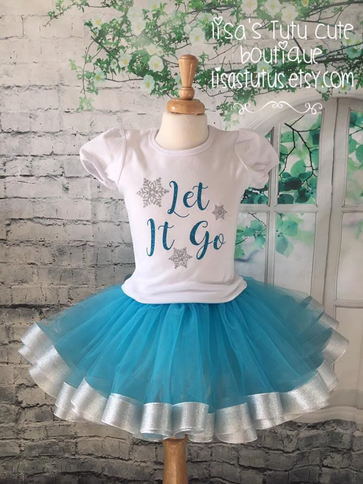 Let it go shirt, Let it go outfit, frozen birthday shirt, frozen birthday outfit, frozen tutu, blue and silver tutu, frozen tutu by LisasTutus on Etsy