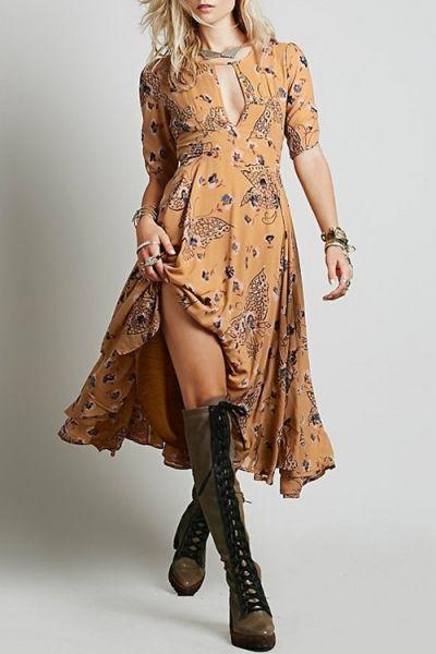 Jewel Neck Tiny Floral Print Short Sleeve Dress YELLOW: Maxi Dresses | ZAFUL