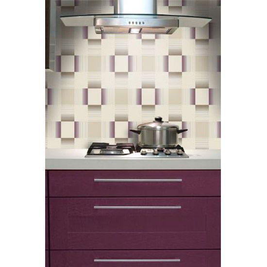 W2WUK / Wallpaper / Wallcoverings / Tiles / Tile Effects / Kitchen / Bathroom / Decorating / Tiling on a Roll / Holden Decor / British design / Hikari / Matrix / Plum / Cream / Blown Vinyl / Textured Vinyl / Geometric