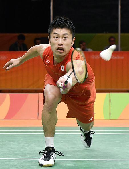 Japan's Sho Sasaki plays against Britain's Rajiv Ouseph during a badminton men's…