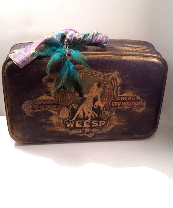 Vintage Upcycled Suitcase Boho Style