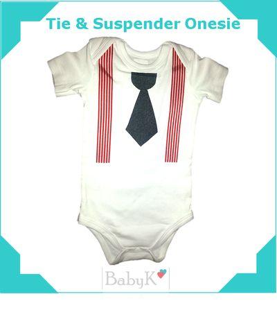 Ready for the office!  BabyK Tie & Suspender Onesie.