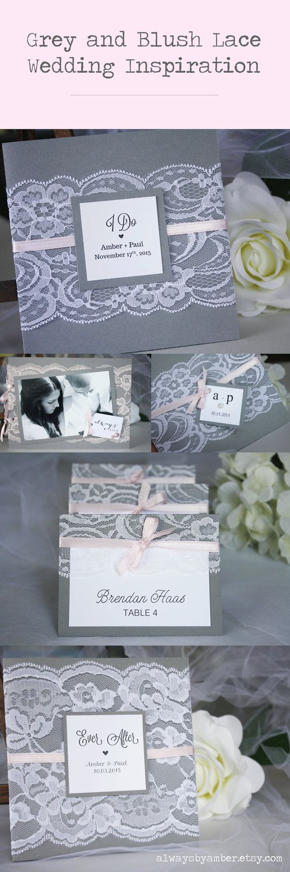 Grey and blush lace wedding invitations, guest book and escort cards by always, byamber #greyandblush #greyandpink #lacewedding #rusticwedding #shabbychic